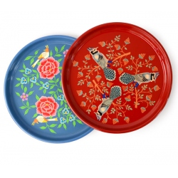 tray round painted, L